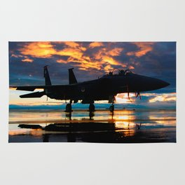 Fighter Jet Airplane at Sunset Military Gifts Rug