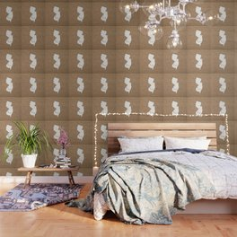 New Jersey is Home - White on Burlap Wallpaper