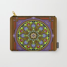 Boho Floral Crest Brown Carry-All Pouch