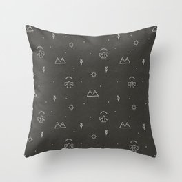 Death Valley in Black and Ivory Throw Pillow