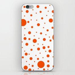 Mixed Polka Dots - Dark Orange on White iPhone Skin