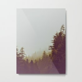 Olive Green Sepia Misty Pine Forest Landscape Photography Parallax Trees Metal Print