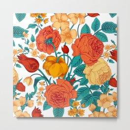 Vintage flower garden Metal Print