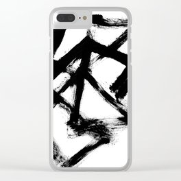 Brushstroke 5 - a simple black and white ink design Clear iPhone Case