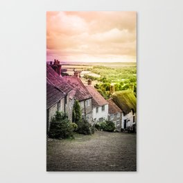 Down a quiet road in Gold Hill, Shaftesbury Canvas Print