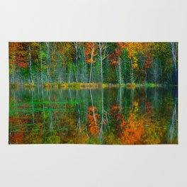 Forest and Lake Reflection Rug