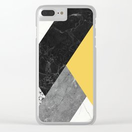 Black and White Marbles and Pantone Primrose Yellow Color Clear iPhone Case