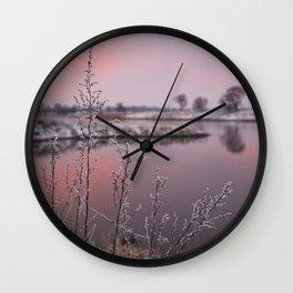 Winter Sunset At River Bank Wall Clock