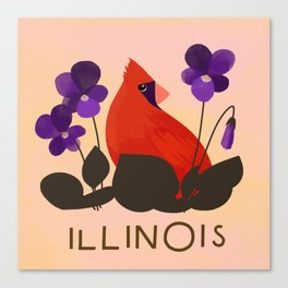 Illinois State Bird and Flower Canvas Print
