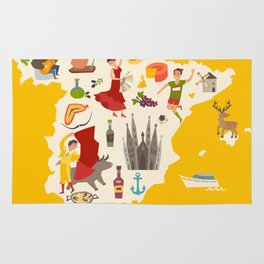 Spain map vector. Illustrated map of Spain for children Rug