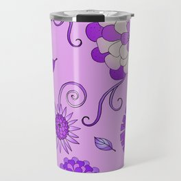 Purple Crazy Daisy pattern Travel Mug