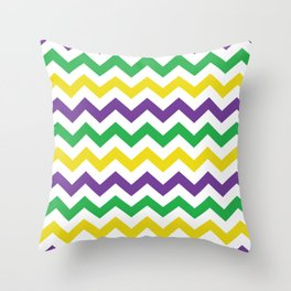 Mardi Gras Chevron Throw Pillow