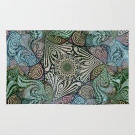 Labyrinth Mandala Blue Green Grey Rug