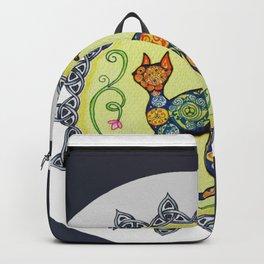 Funky, Paisley, Celtic Cat Mandala Backpack