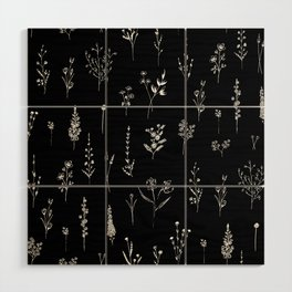 Black wildflowers Wood Wall Art