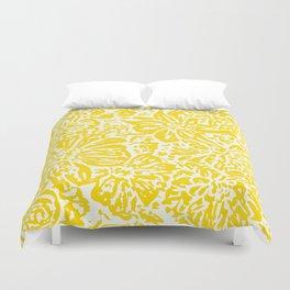 Gen Z Yellow Marigold Lino Cut Duvet Cover