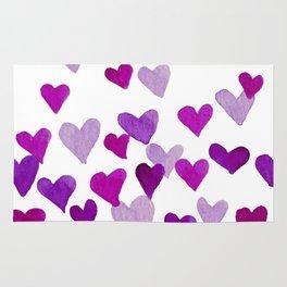 Valentine's Day Watercolor Hearts - purple Rug