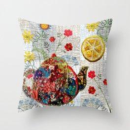 Summer tea time Throw Pillow