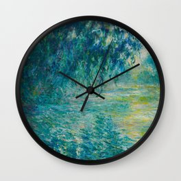 Claude Monet Impressionist Landscape Oil Painting Morning on the Seine Wall Clock