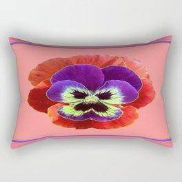 Coral-pink Color Purple Pansy Art Desighn Rectangular Pillow