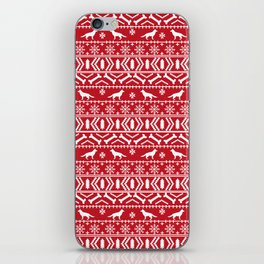 German Shepherd fair isle christmas pattern dog gifts dog breeds pet art holiday red and white iPhone Skin