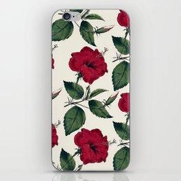 Botanical vintage dark red green ivory floral iPhone Skin
