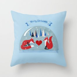 Christmas foxes in love Throw Pillow