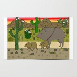 Javelinas in The Sonoran desert Rug