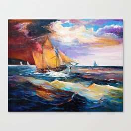 Fishing boats in the sea at sunset Canvas Print