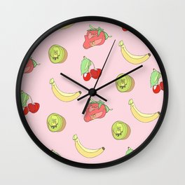 Pink Fruit Pattern Wall Clock
