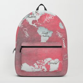 world map 143 red white #worldmap #map Backpack