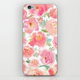 Pink Peonies Watercolor Pattern iPhone Skin
