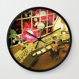 Observing what's out there, a space sci fi collage Wall Clock