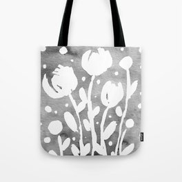 Whimsical watercolor flowers – black and white Tote Bag