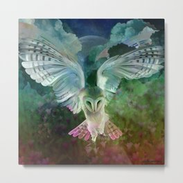 """Owl flight and spring night"" Metal Print"