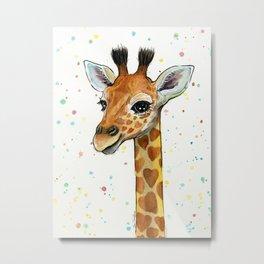 Giraffe Baby Animal with Hearts Watercolor Metal Print