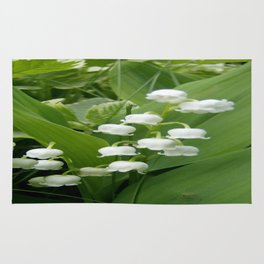 Pure White Lily of the Valley Flower Macro Photograph Rug