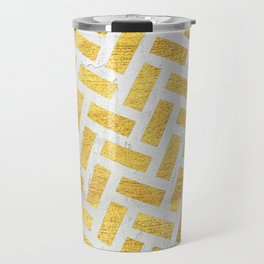 Brick Pattern 1 in Gold and Silver Travel Mug