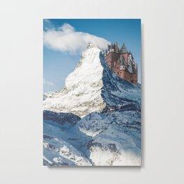 Castle on the Hill Matterhorn and Burg Eltz Castle in Germany Metal Print