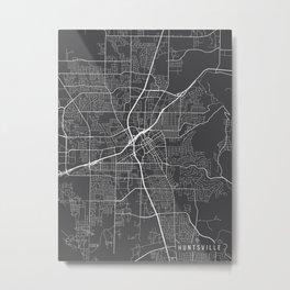 Huntsville Map, Alabama USA - Charcoal Portrait Metal Print