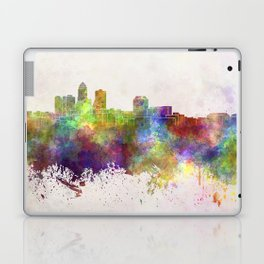 Des Moines skyline in watercolor background Laptop & iPad Skin
