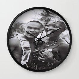 Caribana Festival Parade Costume revellers Black and white photo  Wall Clock
