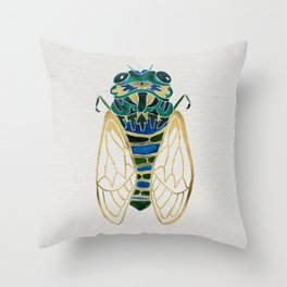 Green & Gold Cicada Throw Pillow