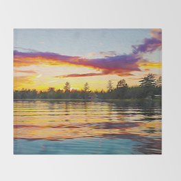 Up North Sunset Throw Blanket