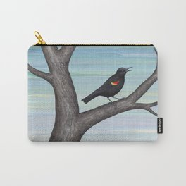 red winged blackbird and tulips Carry-All Pouch