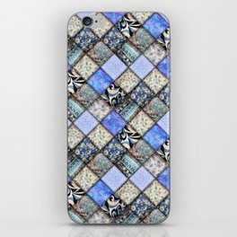 Faux Patchwork Quilting - Blues iPhone Skin