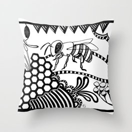 Bee black and white doodle drawing Throw Pillow