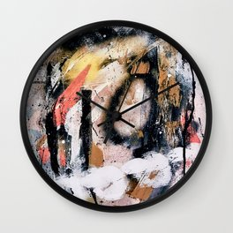 Lightning Soul: a vibrant colorful abstract acrylic, ink, and spray paint in gold, black, pink Wall Clock