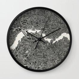 London map drawing ink pen Wall Clock