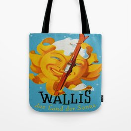 Wallis - Valais Switzerland - German Travel Poster Tote Bag